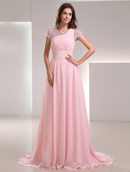 Sweet Pink Chiffon Lace Jewel Neck Fashion Evening Dress фото