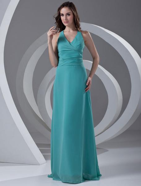 Chiffon Bridesmaid Dress Halter Turquoise V Neck Long Prom Dress Backless Ribbon Bow Floor Length W