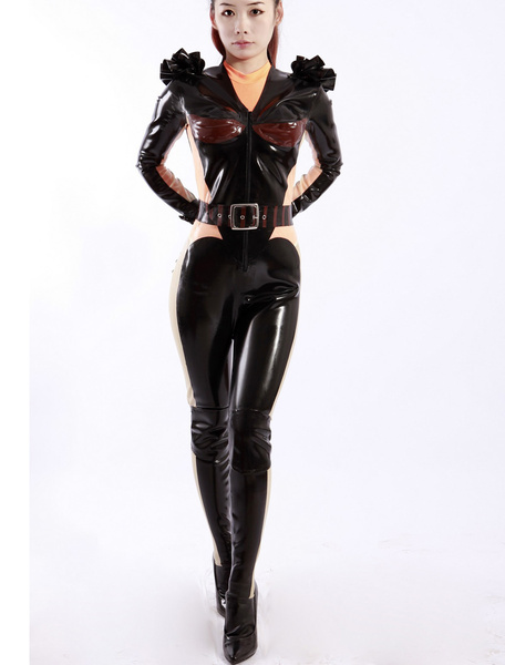 Halloween Modern Girl V neck Women's Latex Catsuit фото