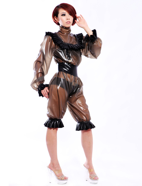 Halloween Sexy Latex Catsuit with Lace Decoration Milanoo