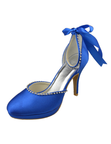 Noble Royal Blue Satin Lace up Ankle Shoes For Bride фото