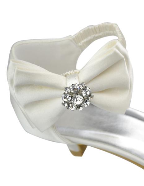Milanoo / Sandalias modernas de novias de satén de color marfil con lazo de Kitten heels