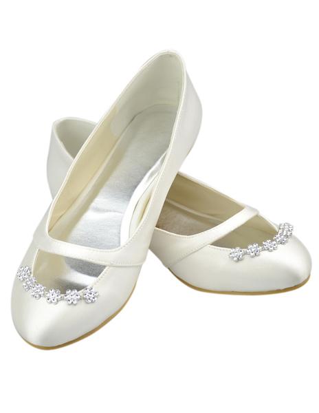 Charming Ivory Satin Floral Rhinestone Wedding Flat Shoes