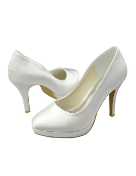 Concise Satin High Heel Bride's Pumps фото