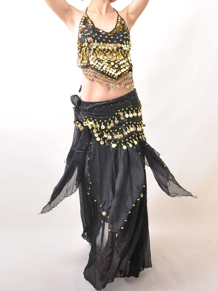 Outfit Belly Dance Costume Glitter Black Sequined Chiffon Bollywood Dance Set For Women фото
