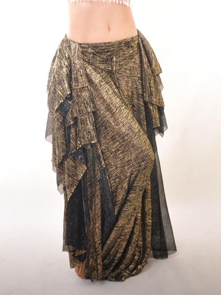 Elegant Black Elastic Silk Like Satin Belly Dance Long Skirt фото