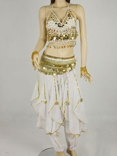 Belly Dance Costume Outfit White Chiffon Sequined Bollywood Dance Set For Women фото