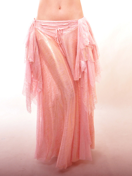 Pink Elastic Silk Like Satin Attractive Belly Dance Long Skirt фото