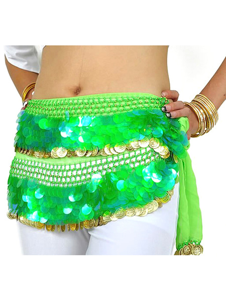 Hip Scarf Belly Dance Costume Green Sparkling Chiffon Bollywood Dance Accessories фото