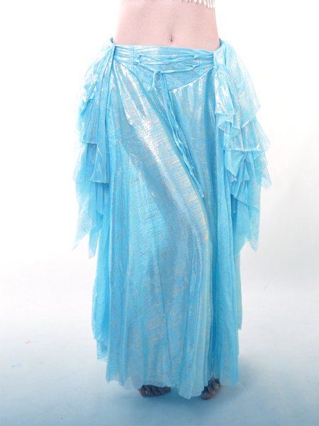 Blue Elastic Silk Like Satin Belly Dance Long Skirt фото