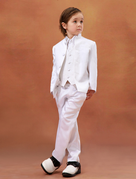 Charming White Satin Wedding Ring Bearer Suits фото