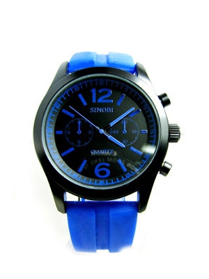 Синий Водостойкий Монах Ремень Резиновый Ремешок Спортивные Часы