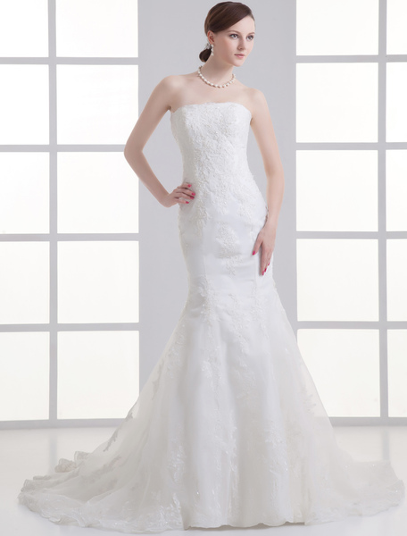 Ivory Mermaid Strapless Beading Tulle Bridal Wedding Gown фото