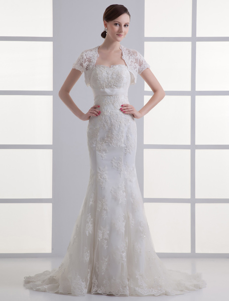 Attractive Ivory Mermaid Sweetheart Beading Lace Bridal Wedding Gown