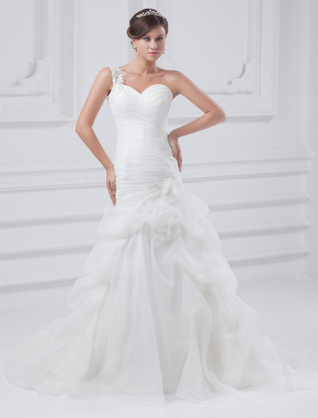 Grace White One-Shoulder Pleated Organza Wedding Dress For Bride