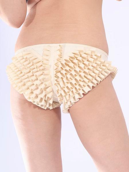 Halloween White Ruffled Latex Unisex Shorts Milanoo