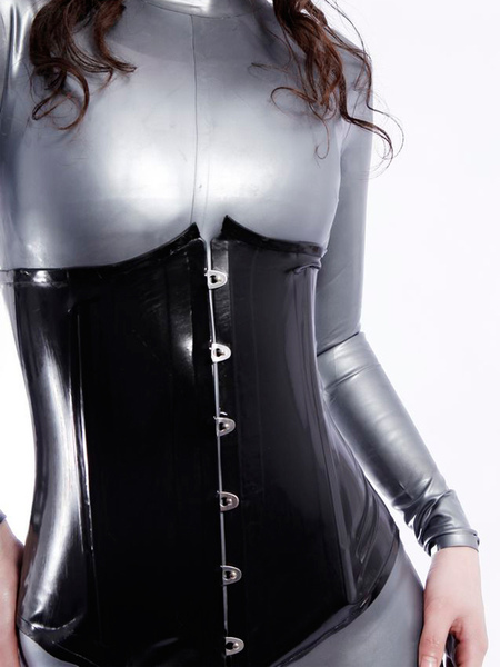 Halloween Black Latex Corst with Laced up Back фото
