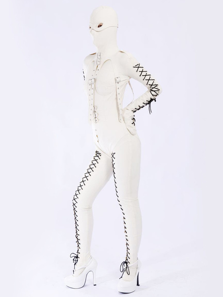 Halloween Stylish White Unisex Bodysuit Latex Catsuit Milanoo