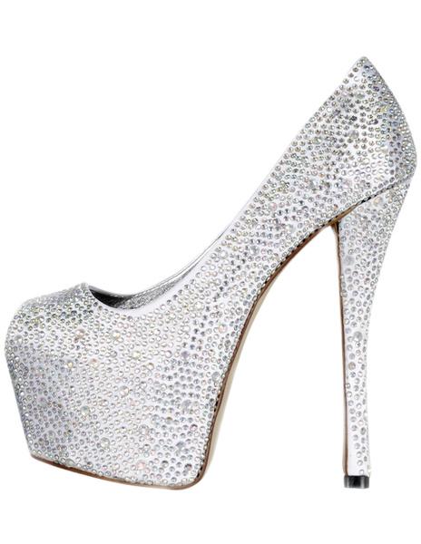 Silver Satin Glitter Studded Peep Toe Shoes фото