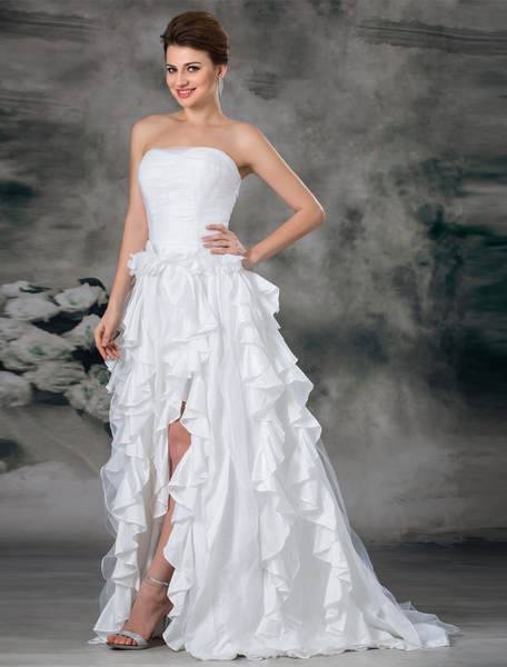 White A-line Strapless Cascading Ruffle Organza Bridal Wedding Dress фото
