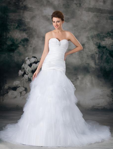Elegant White Sweetheart Neck Beading Tulle Bridal Wedding Gown фото