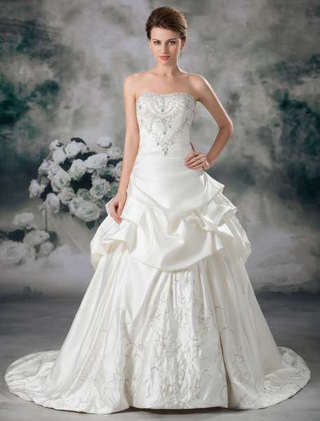 Classical Ivory Strapless Beading Satin Bridal Wedding Gown фото