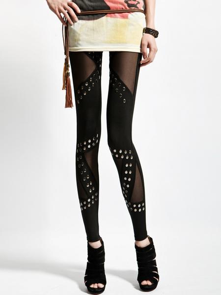 Studded Patchwork Slimming Leggings фото