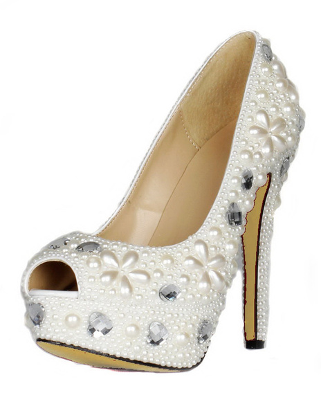 White Pearls PU Leather Peep Toe Shoes фото