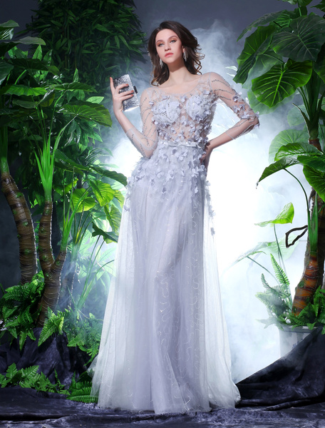 Silver Tulle Beading Prom Dress Milanoo фото