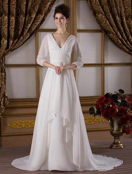 Classic Sweep Ivory A-line V-Neck Ruched Taffeta Bridal Wedding Gown фото