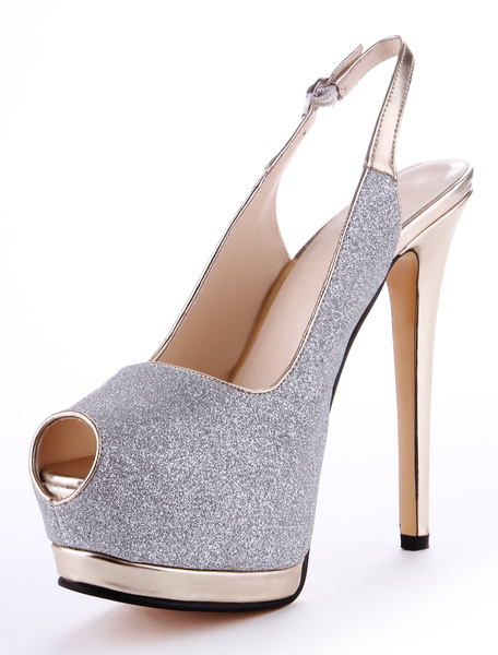 Chic Silver Synthetic Material Glitter Peep Toe High Heels фото