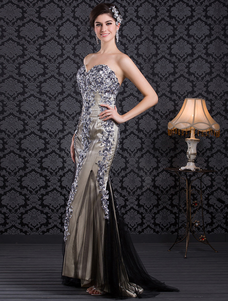 Shiny Mermaid Champagne Net Sequin Sweetheart Neck Sweep Prom Dress фото