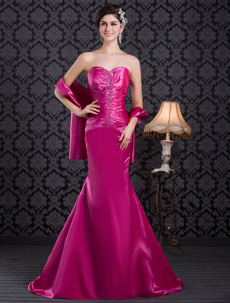 Formal Fuchsia Sweetheart Neck Mermaid Evening Dress