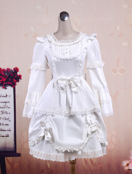 Sweet White Long Sleeves Cotton Lolita One-Piece фото