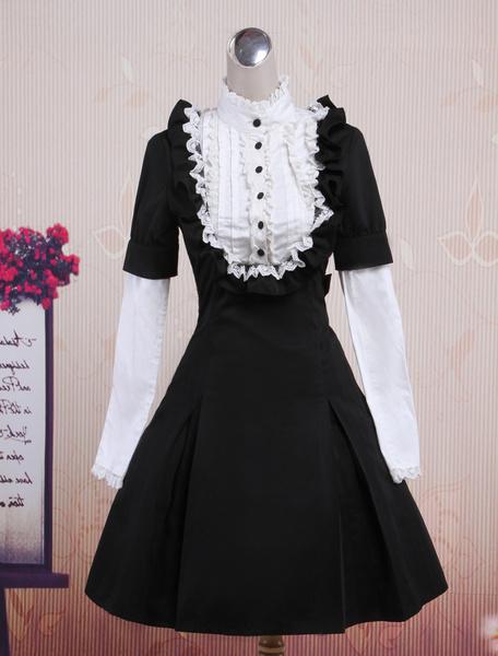 Classic Black Long Sleeves Cotton Lolita One-Piece фото