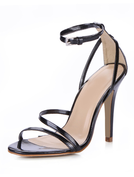Black PU Leather Stiletto Heel Women's Dress Sandals фото