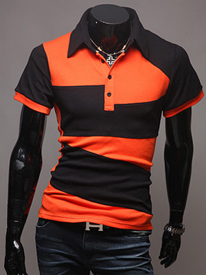 Сплит Цвет Рубашки Поло С Короткими Рукавами