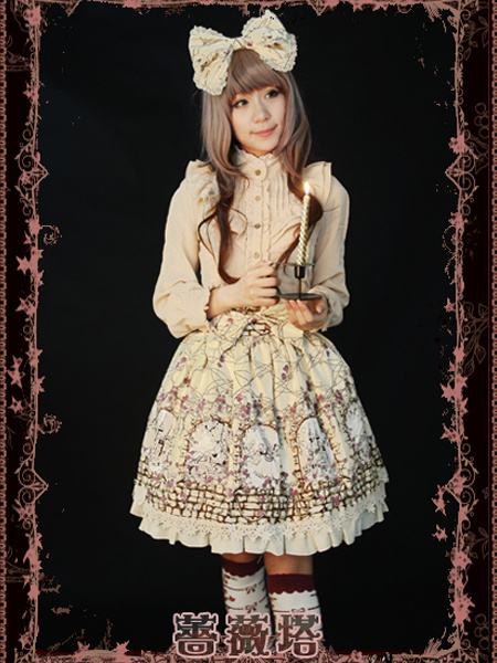 Classic Single-Breasted Ruffles Cotton Lolita Skirts фото