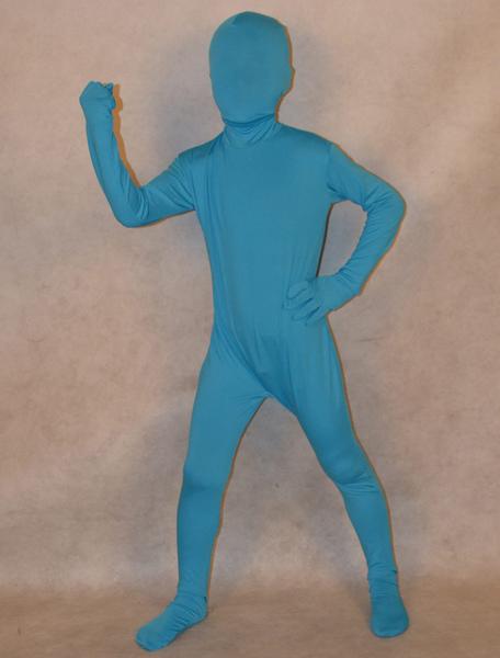 Milanoo Déguisements Halloween Bleu Full Body Elasthanne Zentai 2020 Costume Enfant Déguisements Halloween
