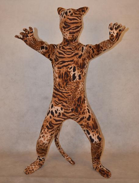 Костюмы Хэллоуин многоцветный мужская Тигр печати лайкры спандекс стильный детский Зентаи