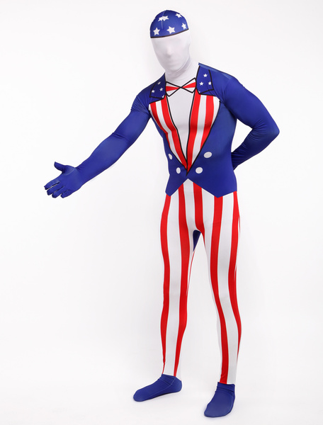 Halloween Fourth of July Flag Zentai Suit Lycra Spandex Full Bodsuit фото