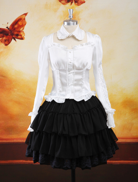 Trad Multi Color Long Sleeves Elastic Silk Like Satin Chiffon Lolita Outfits фото