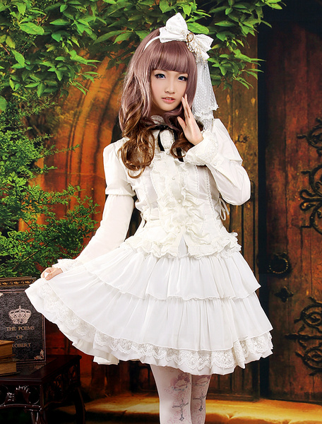 Classic White Long Sleeves Layered Chiffon Lolita Outfits фото