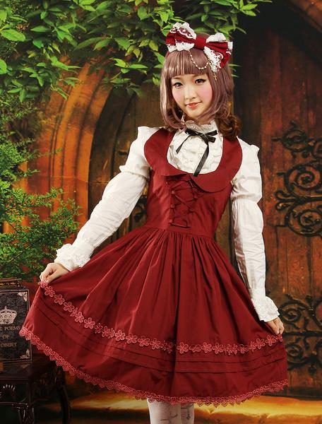 Jupe Lolita adorable sans manches, dos nu à cordon, rouge