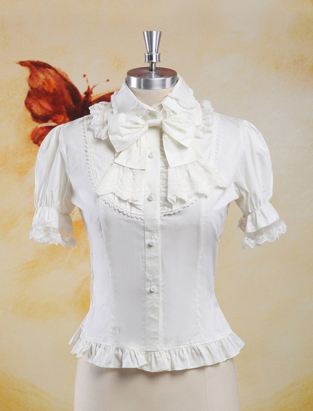 Sweet White Cotton Lolita Blouse Short Sleeves Lace Trim Bows Ruffles фото