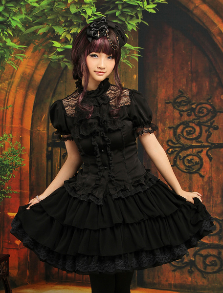 Gothic Black Layered Elastic Satin Chiffon Lolita Outfits фото