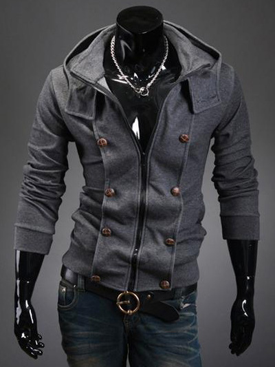 Casual Unicolor Double-Breasted Cotton Men's Assasin's Creed Hoodie фото