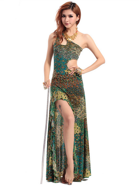 Dress Belly Dance Costume Green Cut Out Peacock Print Rayon Bollywood Dance Long Dress фото