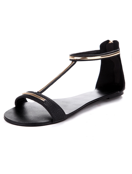 Stylish Black PU Leather Woman's Beach Sandals