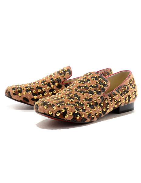 Men's Spike Loafers Horse Hair Leopard Printed Round Toe Slip On Shoes фото
